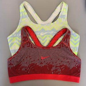 Nike Red Lime Green Sports Bra Dri Fit Lot of 2